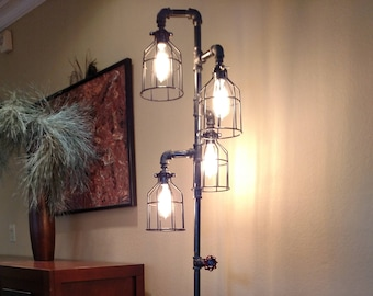 Pipe Floor Lamp 4-fixture Steel Cages INCLUDES DIMMER switch DOESN'T include Bulbs Living Room Steampunk