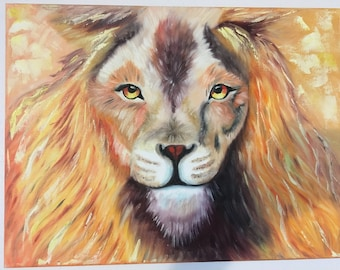 Lion,oil painting on stretched canvas 12/16 inches