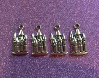 4 Silvertone Fairy Tale Castle charms