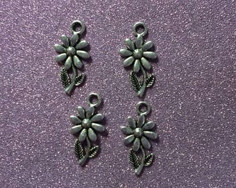 4 Antique Silver cute Flower Charms