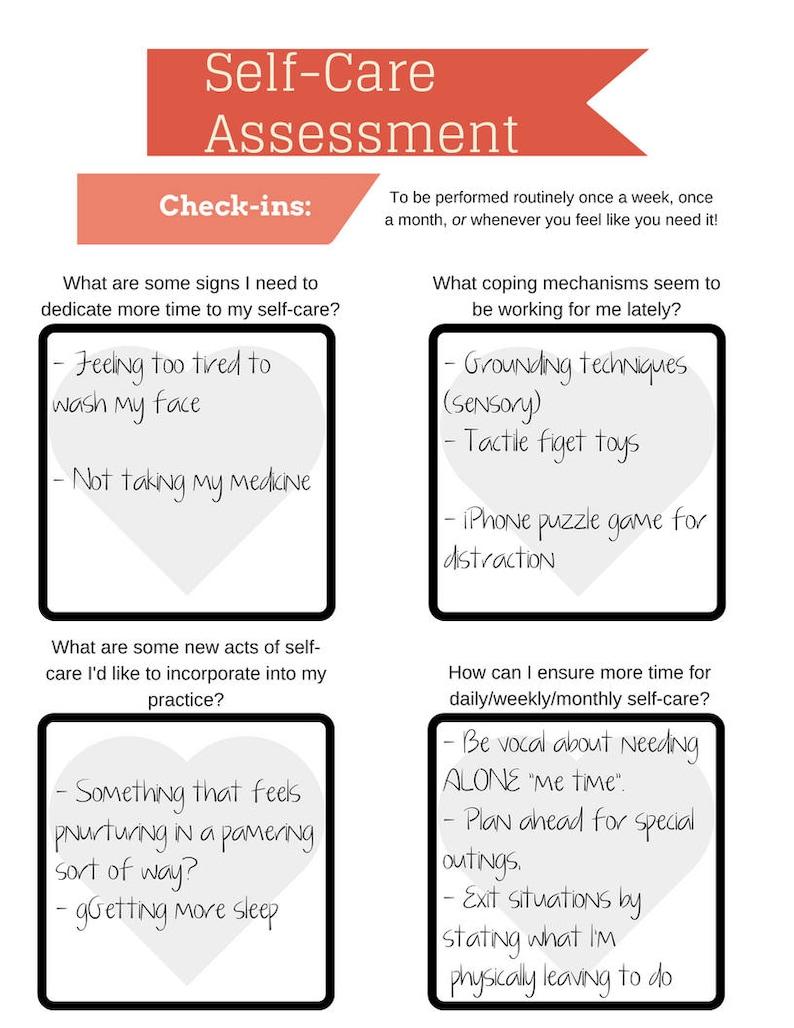 Self Care Assessment Worksheet PRINTABLE INSTANT DOWNLOAD ...