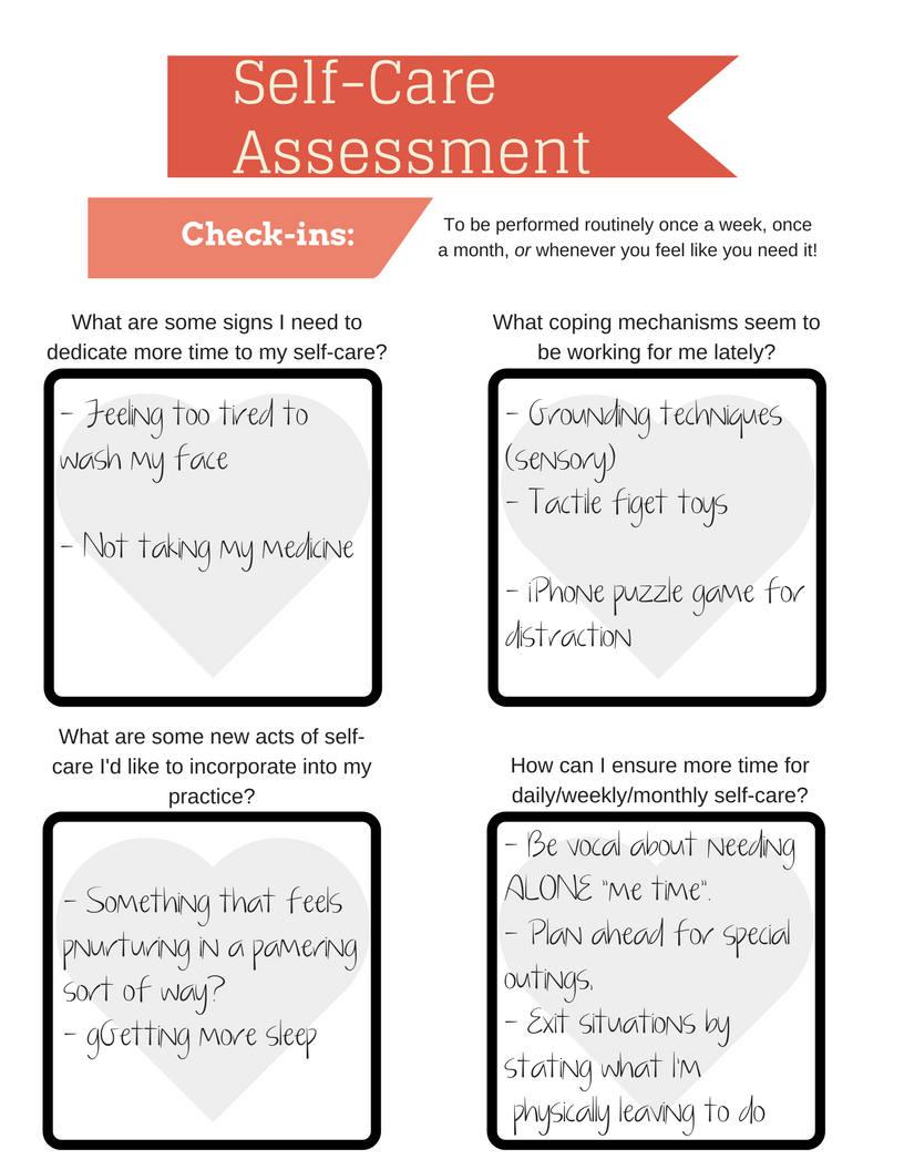 Self-Care Assessment Worksheet PRINTABLE INSTANT DOWNLOAD ...