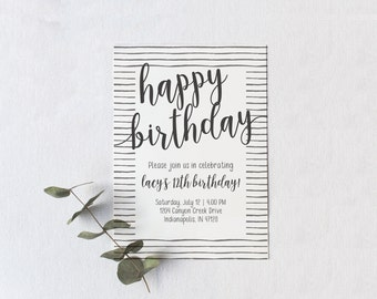 simple printable birthday invitation teenage birthday card etsy