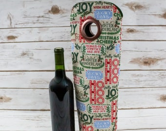 Wine Tote, For Wine Lover, Christmas Gift, Bottle Bag, Carry Tote, Holiday, Winter Wonderland, Wine Bag, For Holiday Party, Woodsy Decor