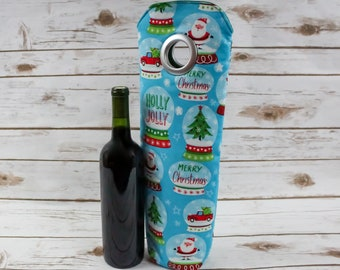 Santa, Wine Bag, Carry Tote, Holiday, Seasonal Accessory, Snow Globes, Gift Idea, Christmas, Free Shipping, Christmas Tree, Snowflakes