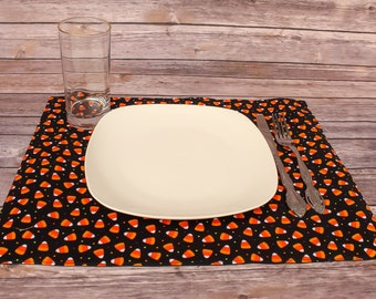 Halloween Decor Table Linen Placemats Candy Corn Dining Room Holiday Seasonal Gift Idea Handmade Table Mats Cotton Placemats Free Shipping