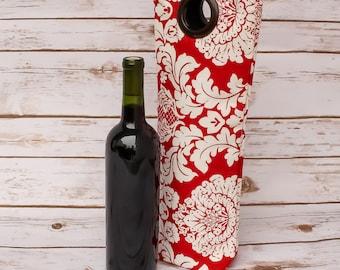 Elegant Wine Tote Hostess Gift Weekender Bag Travel Bag Wine Bag Welcome Gift New Home Gift Free Shipping Bottle Bag Flowers Handmade