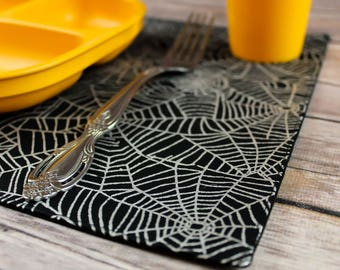 Small Placemats, Halloween, Spider webs, Creepy, Table Decor, Toddlers, Children, Dark, Handmade, Snackmats, Placemats, Creations by Calie