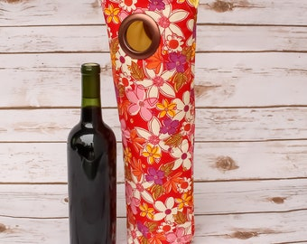 Wine Sleeve Carry Tote Wine Bottle Bag Wedding Tote Gift Idea Champagne Tote Free Shipping Gift Bag Vibrant Wine Carrier Handmade