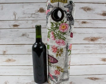 Parisian Theme, Wine Tote, Gift Idea, Bottle Bag, For Wine Lovers, Free Shipping, Carry Tote, Weekender Bag, Wine Carrier, Zebras, Floral