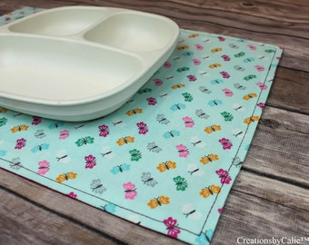 Small Placemat, Butterfly Decor, Placemat Set, Reversible, Table Settings, Snackmat, Table Linens, Mini Mats, Gift Idea, Table Top Decor