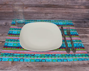 Placemats Vibrant Table Linens New Home Gift Idea Dining Room Decor Table Decoration Fabric Placemat Table Mat Reversible Handmade