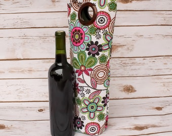 Wine Tote Champagne Carrier Free Shipping Bottle Bag Wine Sleeve Flowers Gift Idea Tote Bag Fabric Bag Colorful Handmade Floral Gift for Her