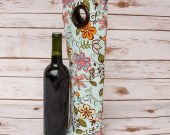 Colorful Floral Wine Sack Bottle Tote Champagne Bag Wine Carrier Gift Idea Hostess Gift Free Shipping Picnic Tote Handmade