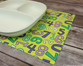 Snackmats for Children, Gift Idea, Mini Placemats, Learning Tool for Toddlers, Table Linens, Small Placemats, Alphabets, Fun Decor, Washable