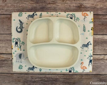 Small Placemats, Mini Tablemats, Table Linens, Dining Room Decor, Snackmats, Reversible, Circular Placemats, Elephants, Wild Animals, Monkey