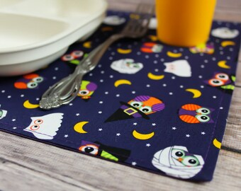 Halloween Decor, Ghosts, Witches, Snackmats, Owls, Small Placemats, Table Linen, Children, Halloween Fun, Adorable, Handmade, CbyCalie