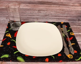 Placemats Place Settings Peppers Table Linens Housewarming Dining Room Decor Novelty Gift Idea Reversible Handmade Free Shipping