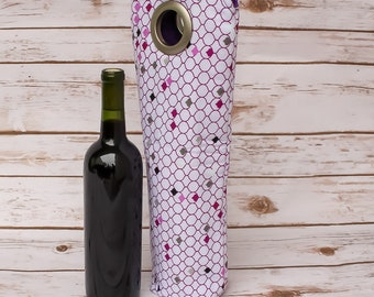 Bottle Bag Travel Bag Unique Gift Wine Tote Wine Bag Champagne Bag Gift Sack Hostess Gift Wine Sleeve Picnic Tote Handmade Free Shipping