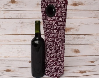 Wine Bottle Bag For Coffee Lovers Hostess Gift Free Shipping Wine Carrier For Wine Lovers Wine Bag Coffee Bottle Tote Wine Handmade