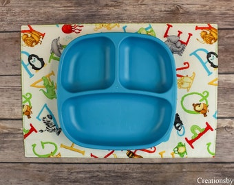 Small Placemat, Table Linen, Animals, Alphabets, Letters, Educational, Lions, Alligators, Placemat, Elephants, Learning Tool, CbyCalie