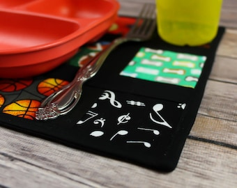 Snackmat, for children, fun decor, table linen, small placemat, teaching tool, toddler tool, animals, sports decor, music decoration