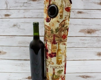 Wine Bottle, Wine Glasses, Wine Tote, Carry Bag, Champagne Tote, Tuscany, Housewarming Gift, Gift for Wine Lovers, Beverage Carrier