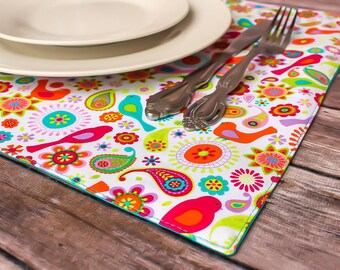 Spring Decor Vibrant Fabric Placemats Birds Flowers Table Setting Dining Room Decor Place Markers Reversible Handmade Free Shipping