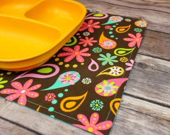 Snackmat, Small Placemat, Toddler, Mini Placemat, Kids Placemat, Gift Idea, Reversible, Floral Decor, Placemat Set, For Kids, Free Shipping,