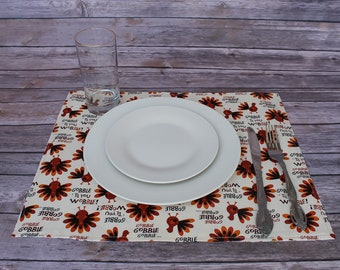 Reversible Placemats Thanksgiving Decor Turkey Holiday Linens Table Linens Fabric Placemats Christmas Decor Placemats Christmas Ideas