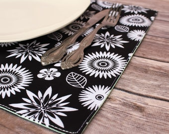 Table Setting Reversible Placemats Flowers Dining Room Fabric Placemats Elegant Dining Room Decor Spring Decor Handmade Free Shipping