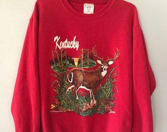 Vintage 80s Kentucky Deer Crewneck Sweatshirt ugly Christmas Sweater Large 1989