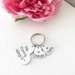 Personalised Heart Keyring - Mum, Mummy, Nanny, Grandma , Auntie etc