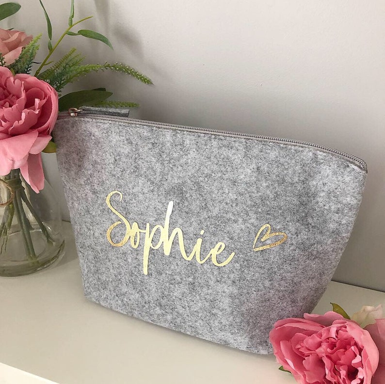 Personalised Grey Makeup Wash Bag Medium image 0
