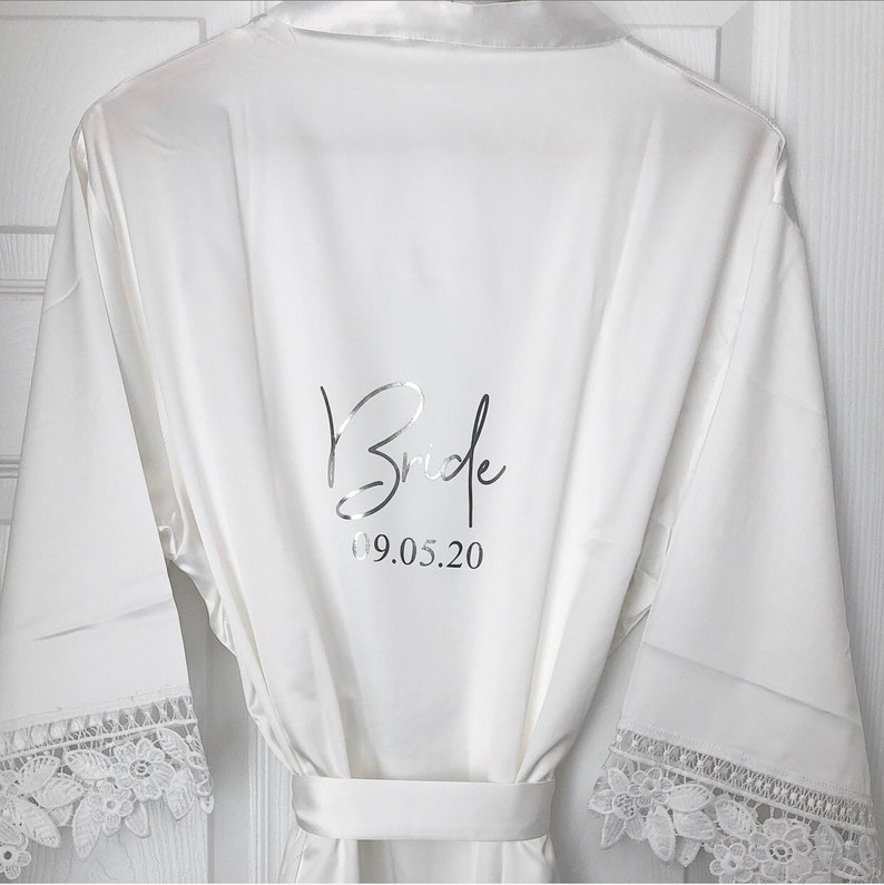Personalised Silk Lace Robe  Bride & Bridesmaid Gown image 0