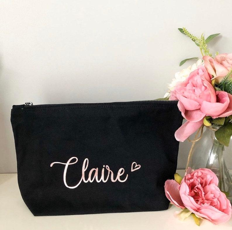 Personalised Black Makeup Bag image 0