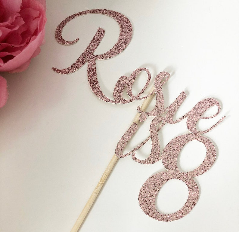 Personalised Glitter Cake Topper  Birthday  Hen Party  Baby Rose gold