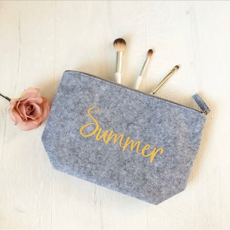 Personalised Grey Makeup Wash Bag Medium Gold