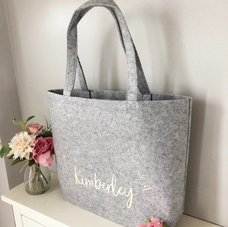 Personalised Grey Felt Tote Bag image 0
