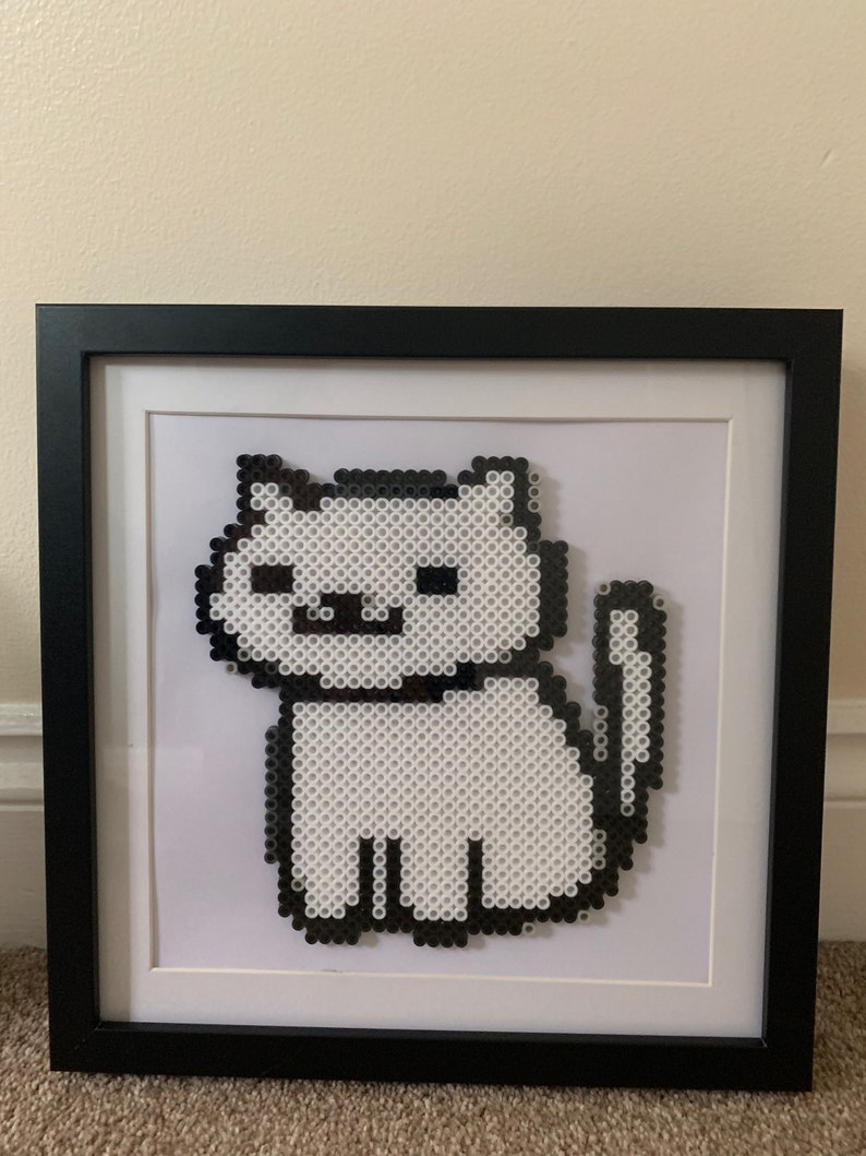 Neko Atsume Snowball Portrait Framed made from Perler Beads