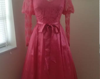 Beautiful Vintage Satin & Lace  Long Sleeves Gown