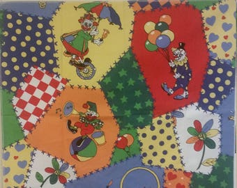 Vintage  The Circus Clowns Sample Fabric 100% Cotton Blend