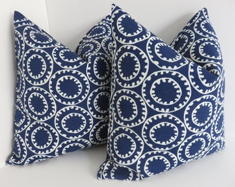 Outdoorindoor Pillow Covers Blue White Outdoor Pillos Etsy