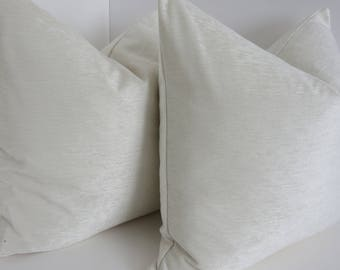 Chenille Ivory Pillows- Pillows- Ivory Pillows- Chenille Pillows- solid Pillow Covers- Accent Ivory Pillows
