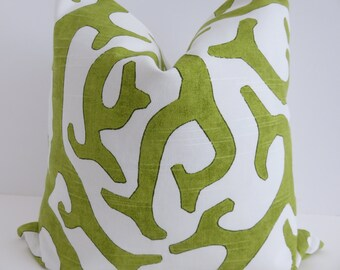 White Lime Green Pillow Cover, Pillow Cover, Accent Pillow, Green Pillow, White Pillow Cover
