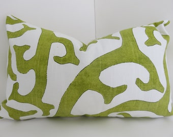 Lime Green White Pillow Cover 12x20