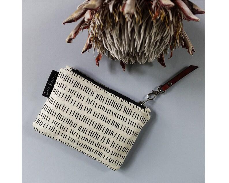 Small Zipper Purse Hand Printed Coin Purse Coin Purse Organic Cotton Eco Friendly Gift