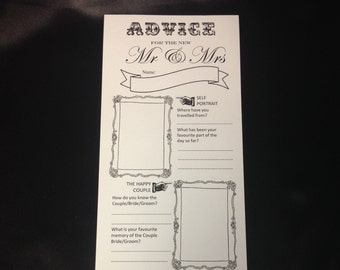 Wedding advice cards - pack of 20