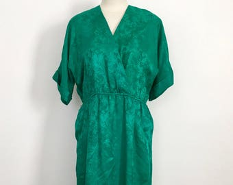 Vintage Green 100% Silk Faux Wrap Dress Size Small from Nordstrom