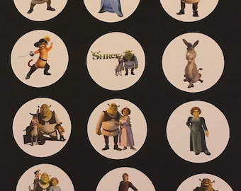 Precut Edible Shrek Character images for cakes, cupcakes and cookies